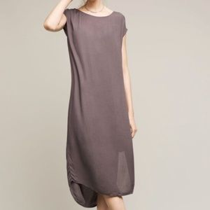 Anthropologie Cloth & Stone Grey Midi Slit Dress